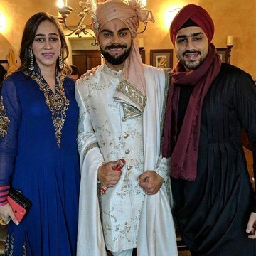 virat kohli wearing ivory and gold wedding sherwani